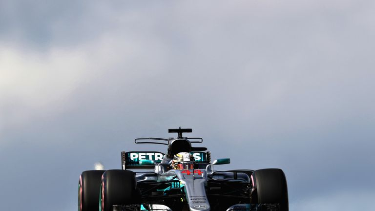 AUSTIN, TX - OCTOBER 21: Lewis Hamilton of Great Britain driving the (44) Mercedes AMG Petronas F1 Team Mercedes F1 WO8 on track during final practice for