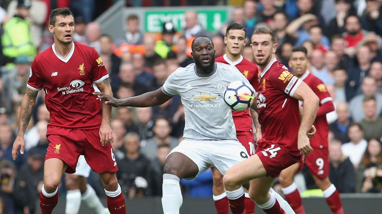 Romelu Lukaku clashed with Dejan Lovren shortly before half-time at Anfield