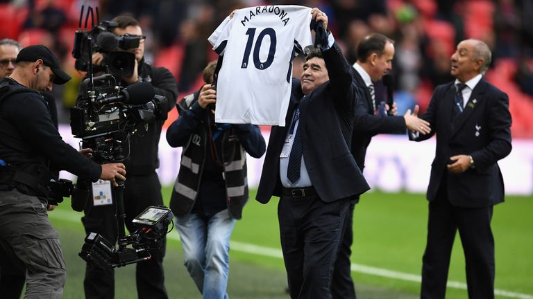 Diego Maradona was presented with a No 10 Tottenham shirt at half-time at Wembley