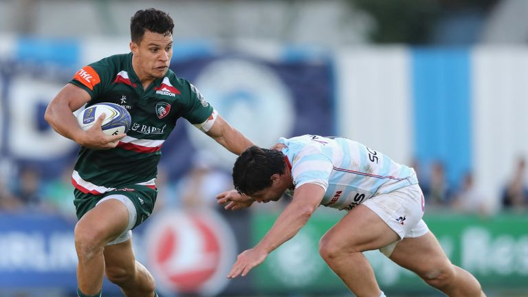 Matt Tommua evades a tackle during Leicester Tigers' Champions Cup opening match against Racing 92
