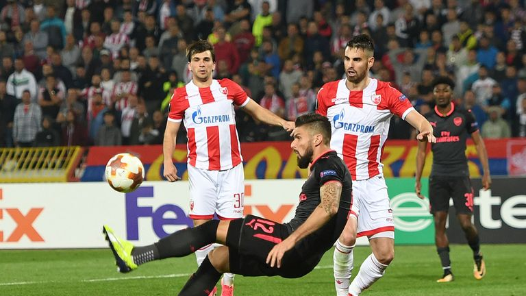 Olivier Giroud scored a spectacular overhead kick to seal all three points for Arsenal in Belgrade