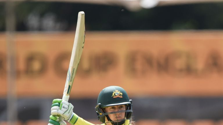 LEICESTER, ENGLAND - JULY 05: Rachael Haynes of Australia batting during the ICC Women's World Cup 2017 match between Pakistan and Australia at Grace Road