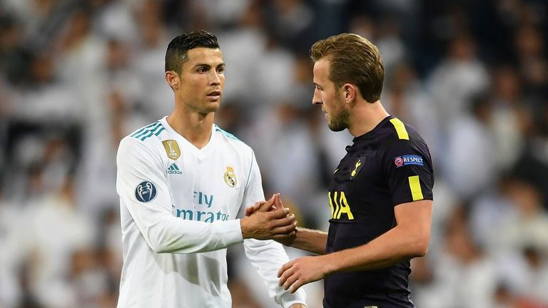 MADRID, SPAIN - OCTOBER 17:  Cristiano Ronaldo of Real Madrid and Harry Kane of Tottenham Hotspur speak after the UEFA Champions League group H match betwe