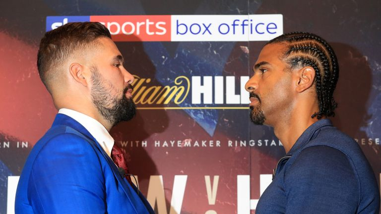 Tony Bellew and David Haye face off during the Bellew v Haye II press conference at Park Plaza Westminster Bridge