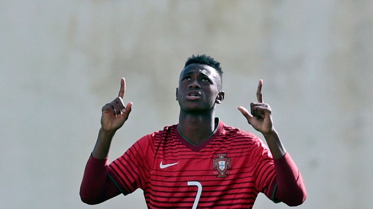 FERREIRAS, PORTUGAL - FEBRUARY 14: Umaro Embalo of Portugal U17 celebrating his goal during the U17 Algarve Cup Tournament Match between Portugal U17 and g