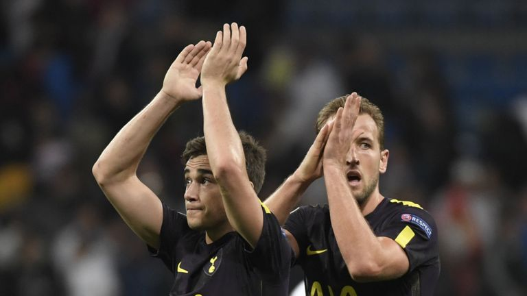 Tottenham Hotspur's Harry Winks and Harry Kane applaud after the UEFA Champions League Group H football match against Real Madrid in October 2017