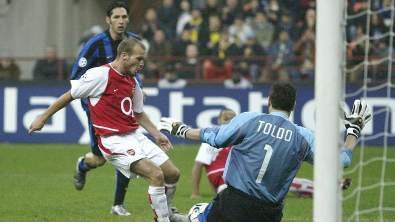 Freddie Ljungberg scored to put Arsenal 2-1 up against Inter Milan at the San Siro