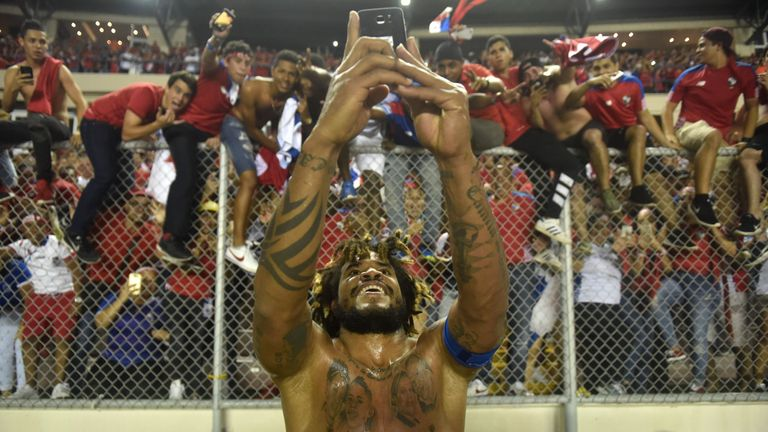 Panama's Roman Torres celebrates their World Cup qualification