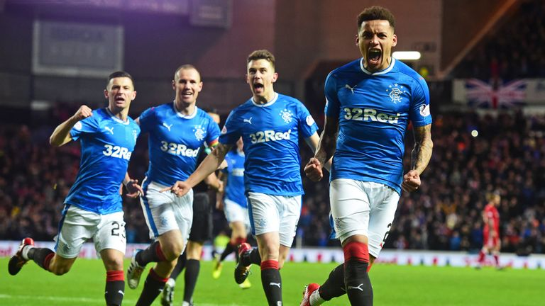 Rangers' James Tavernier (right) celebrates one of his eight goals in all competitions this season