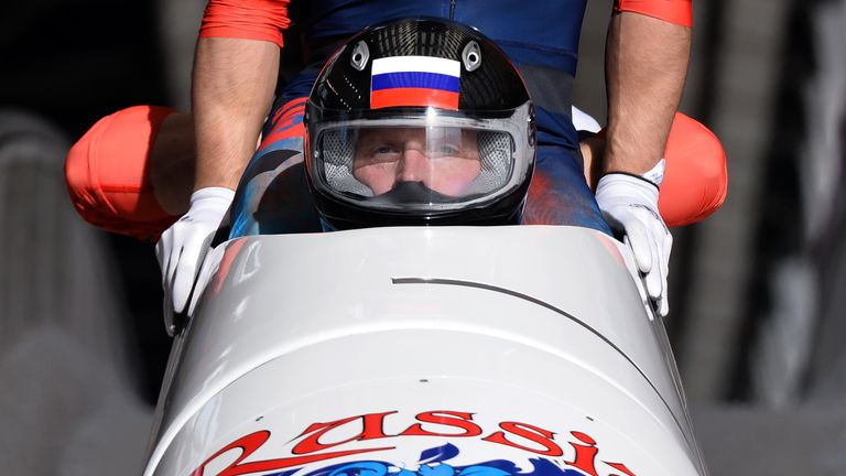 Russia's Alexander Zubkov competes in the Bobsleigh at the Sochi Winter Olympics in 2014