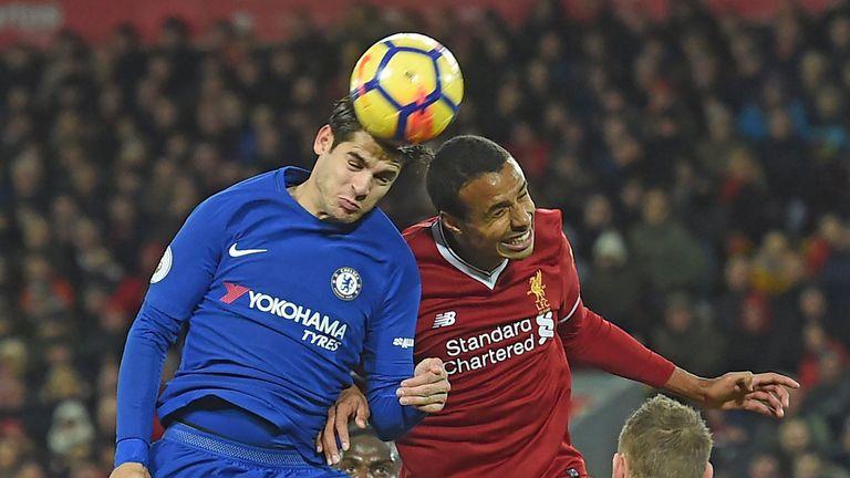 Alvaro Morata vies with Joel Matip during Chelsea's draw at Liverpool