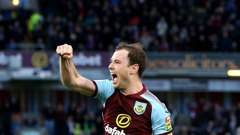 Ashley Barnes celebrates scoring Burnley's second goal against Swansea