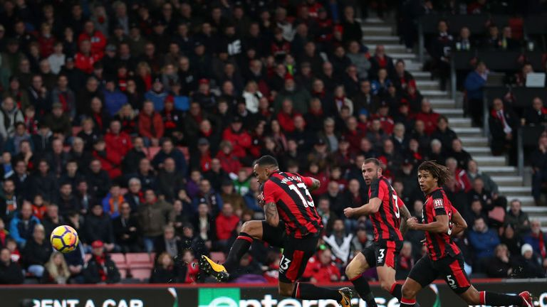 Callum Wilson scores his and Bournemouth's second goal