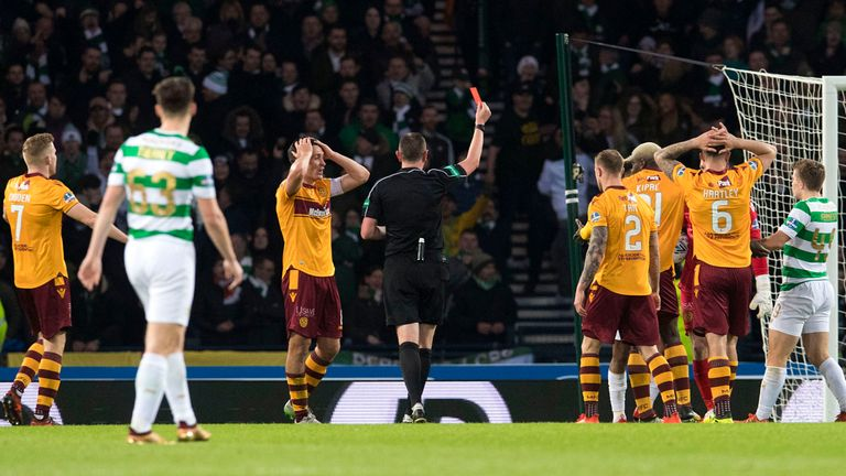 Cedric Kipre was sent off for Motherwell