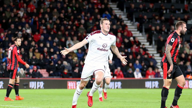 Chris Wood celebrates his first-half goal for Burnley