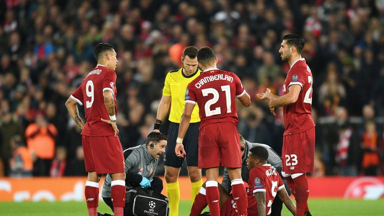 Georginio Wijnaldum hobbled off after appearing to roll his ankle in the first half