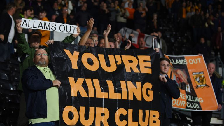 Hull City fans want the Allam family to sell the club