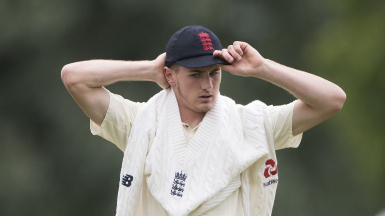 George Garton bowled against England's batsmen in the nets this winter