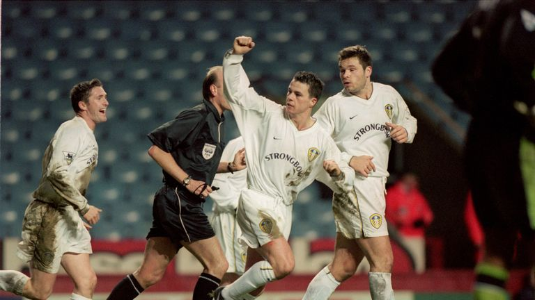 Ian Harte (C) celebrates his late winner