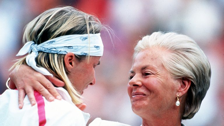 Jana Novotna was consoled by the Duchess of Kent after her defeat by Steffi Graf in the women's singles final at Wimbledon in 1993