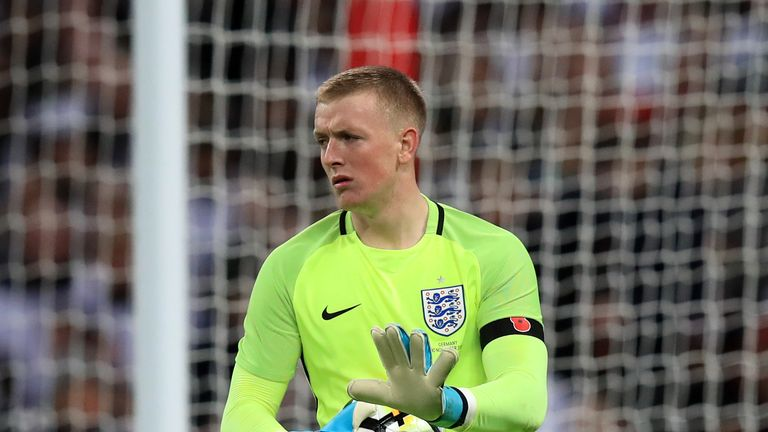 Jordan Pickford played the full 90 minutes in goal on his senior debut