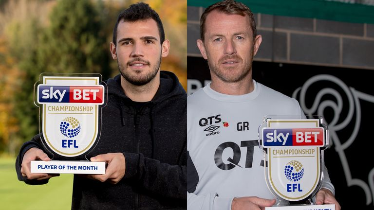 Leo Bonatini (L) won the Sky Bet Championship Player of the Month Award for October while Gary Rowett won the Manager Award
