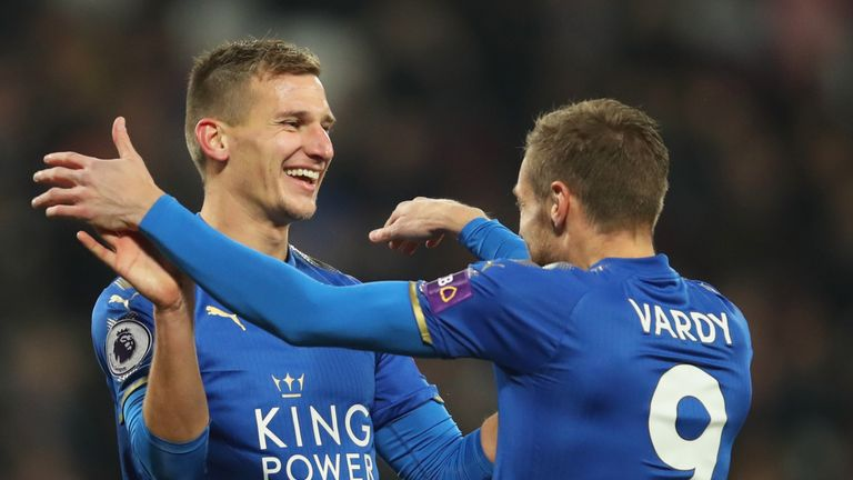 Marc Albrighton celebrates his opening goal with Jamie Vardy