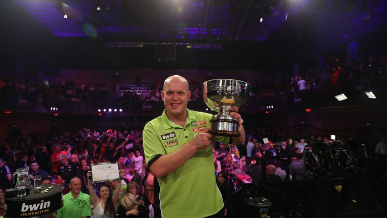 Michael van Gerwen beat Phil Taylor and Peter Wright to claim a third Grand Slam of Darts