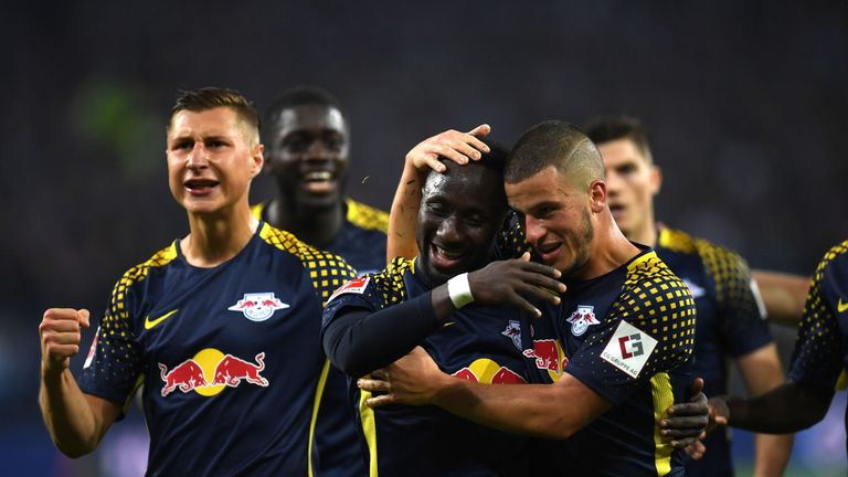 Naby Keita is mobbed by team-mates after his recent goal against Hamburg