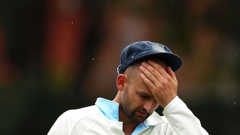 Nathan Lyon was the culprit as burnt toast stopped play in Brisbane
