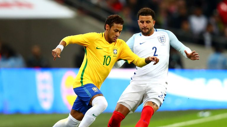 Neymar and Kyle Walker in action during the 0-0 draw at Wembley