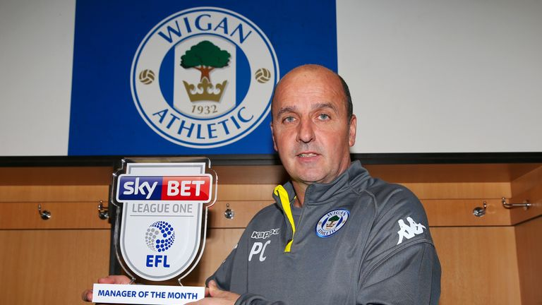 Wigan Athletic manager Paul Cook is presented with the Sky Bet League One Manager of the Month Award for October