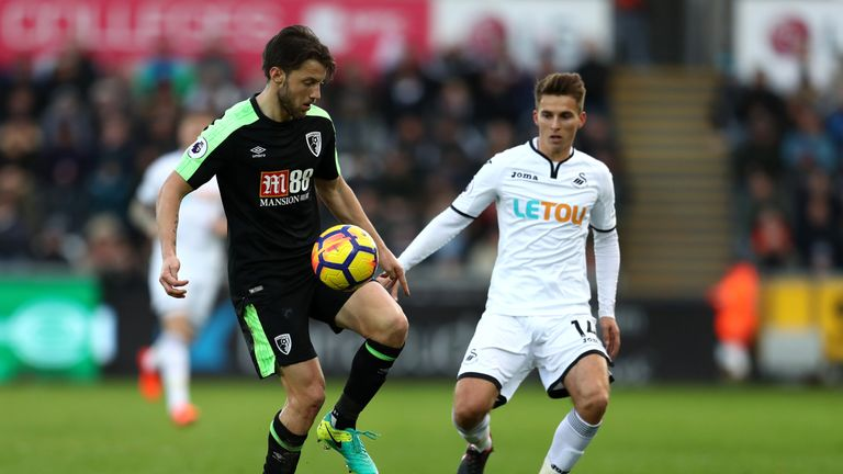 Harry Arter controls the ball under presseure form Tom Carroll