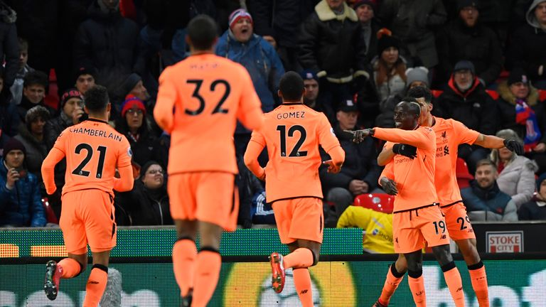 Sadio Mane celebrates his goal with team-mates