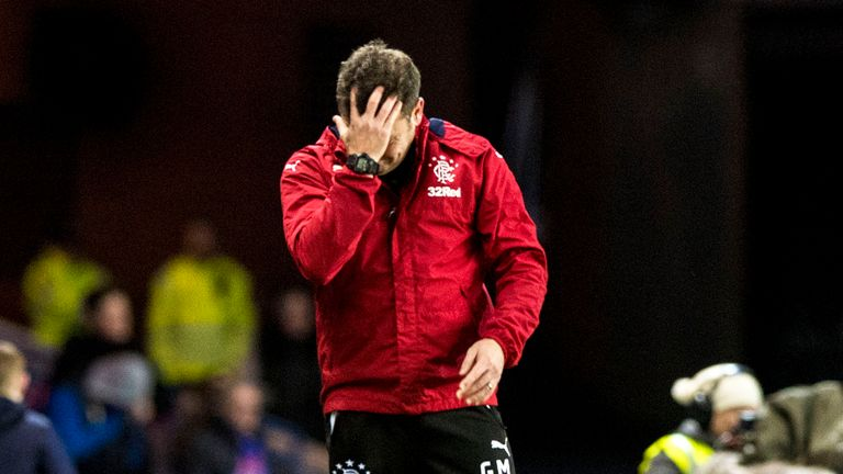 Graeme Murty endured a frustrating afternoon on the Ibrox touchline