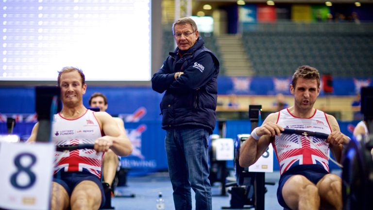 GB rowers, Matt Rossiter and Callum McBrierty racing at the British Rowing Indoor Championships in 2016