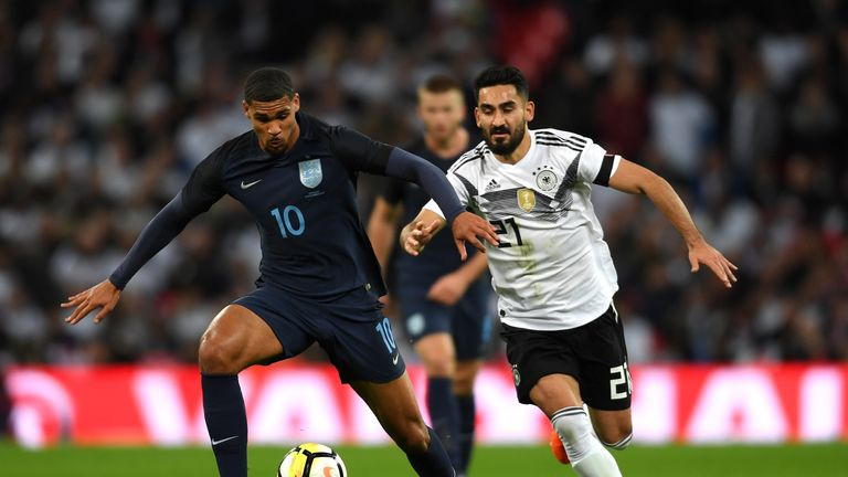 Crystal Palace's Ruben Loftus-Cheek, who put in a man-of-the-match performance for England, pictured battling with Manchester City's IIkay Gundogan of Germany