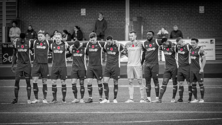 Salford remember before beating Tamworth 2-1 (Picture: Charlotte Tattersall)