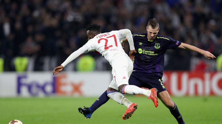 Morgan Schneiderlin was sent off during a miserable night in Lyon for Everton