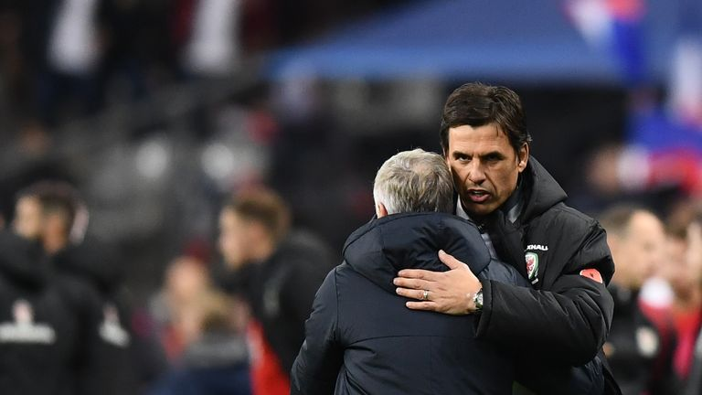 Coleman congratulates Didier Deschamps at the full-time whistle in Paris