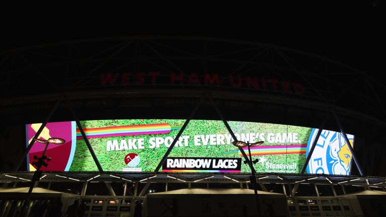 West Ham's London Stadium lights up in support of the Rainbow Laces campaign