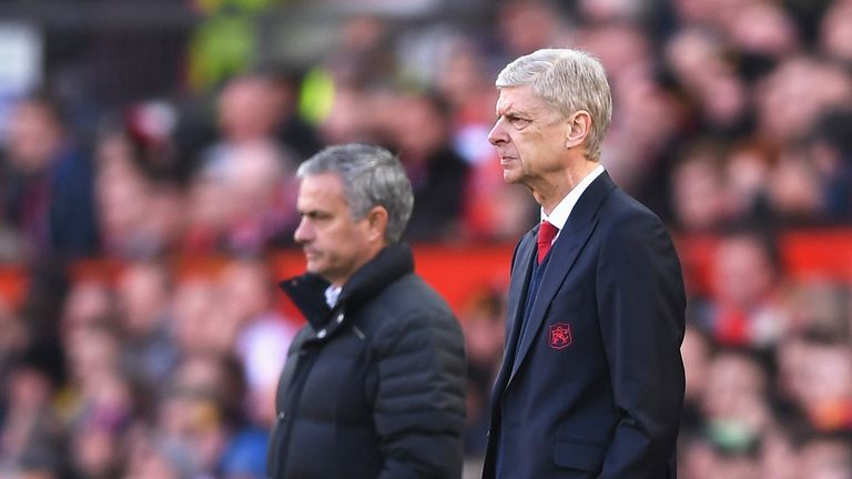 Jose Mourinho and Arsene Wenger during the Premier League match between Manchester United and Arsenal at Old Trafford on November 19, 2016