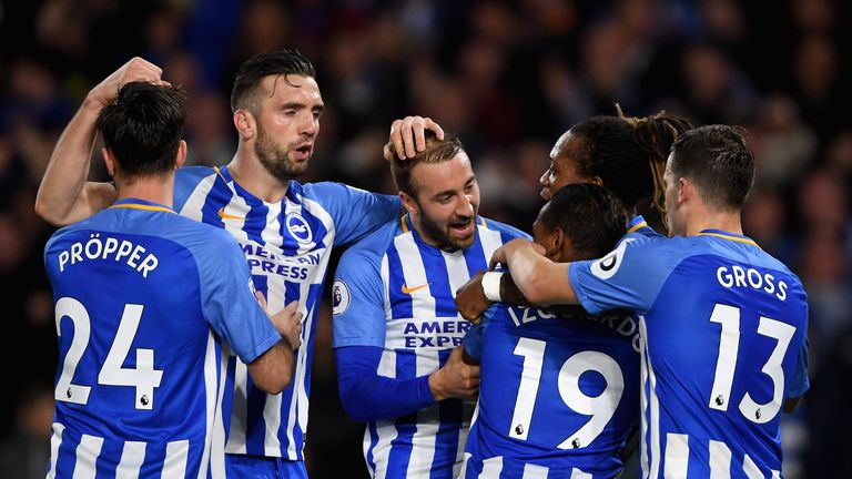 BRIGHTON, ENGLAND - NOVEMBER 20:  Jose Izquierdo of Brighton and Hove Albion celebrates scoring his side's second goal with team mates during the Premier L