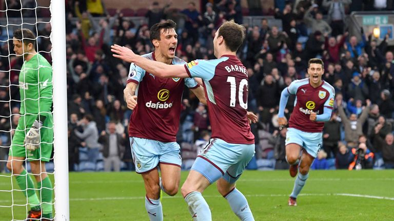 Burnley's Jack Cork celebrates scoring his side's first goal of the game