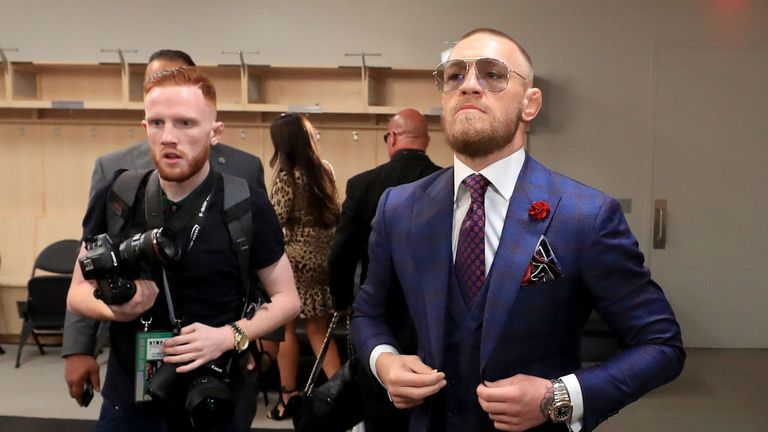 LAS VEGAS, NV- AUGUST 26:  Conor McGregor arrives for his super welterweight boxing match against Floyd Mayweather Jr. on August 26, 2017 at T-Mobile Arena