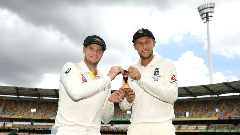 BRISBANE, AUSTRALIA - NOVEMBER 22:  Steve Smith, Captain of Australia and Joe Root, Captain of England pose during a media opportunity ahead of the 2017/18