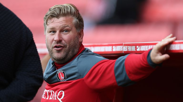 LONDON, ENGLAND - AUGUST 19:  Charlton Athletic manager Karl Robinson looks on prior to the Sky Bet League One match between Charlton Athletic and Northamp