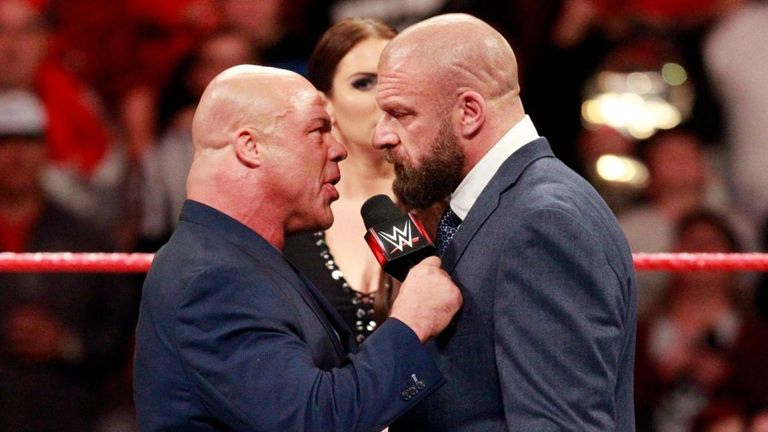 Kurt Angle and Triple H's long-running rivalry has threatened to once again get physical