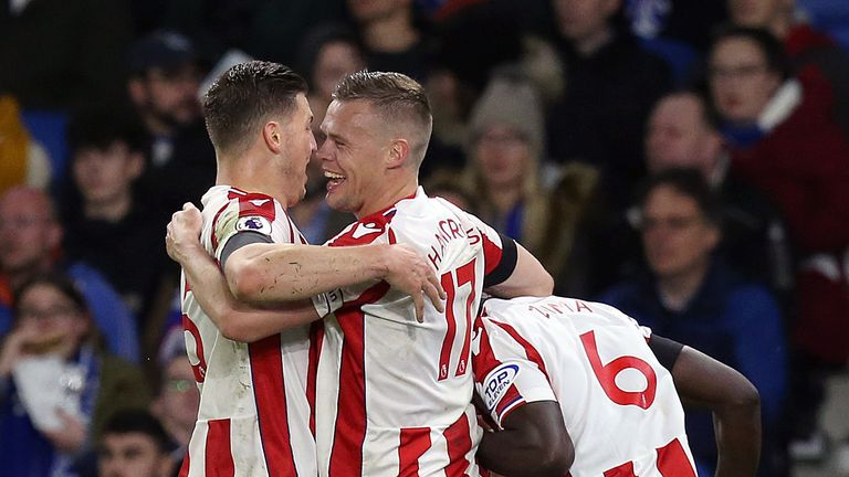 Stoke City's Kurt Zouma (right) celebrates scoring his side's second goal of the game with Ryan Shawcross and Kevin Wimmer (left) during the Premier League