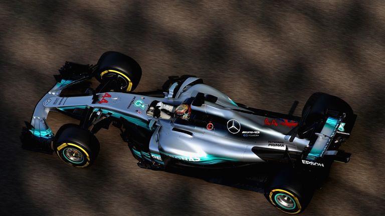 ABU DHABI, UNITED ARAB EMIRATES - NOVEMBER 24: Lewis Hamilton of Great Britain driving the (44) Mercedes AMG Petronas F1 Team Mercedes F1 WO8 on track duri